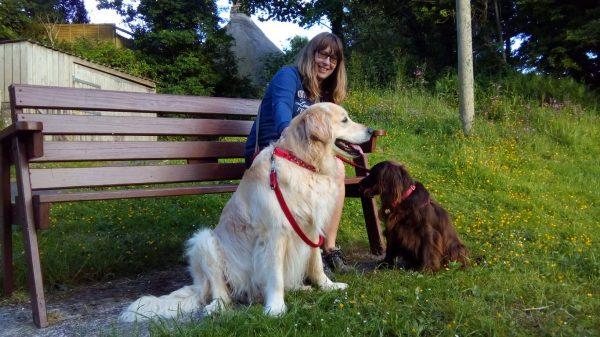Probie and Molly take Vanessa for a walk in Ringmore, Devon