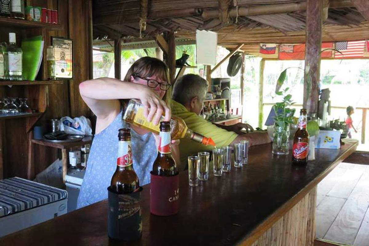 Vanessa helps out behind the bar when things get busy